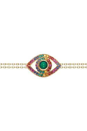 NETALI NISSIM Yellow Gold, Green Quartz and Rainbow Stone Protected Bracelet
