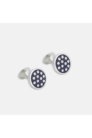 Turnbull & Asser Spotted Navy and Sterling Enamelled Cufflinks