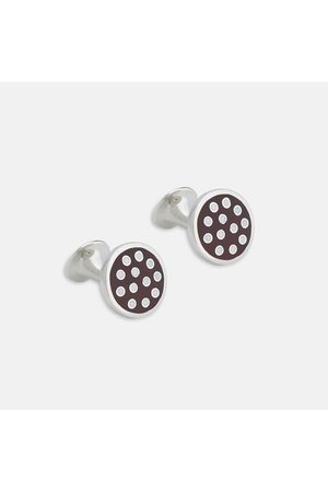 Turnbull & Asser Spotted Burgundy and Sterling Enamelled Cufflinks