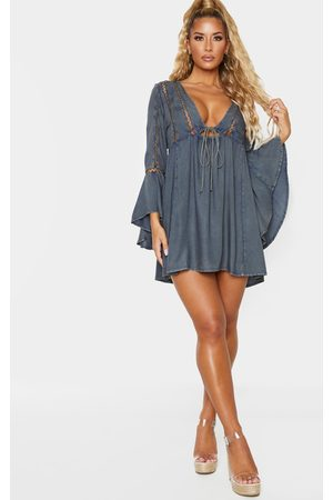 PRETTYLITTLETHING Washed Tie Front Frill Sleeve Beach Dress