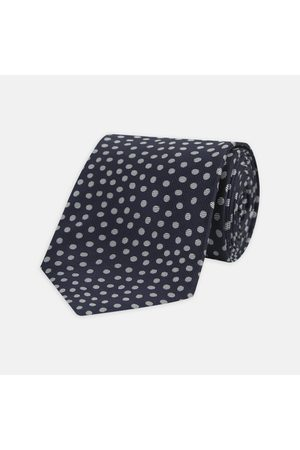 Turnbull & Asser Navy and Paint Spot Silk Tie