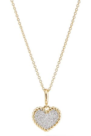 David Yurman 18kt yellow gold Cable Collectibles pavé diamond plate heart charm necklace - D88ADI