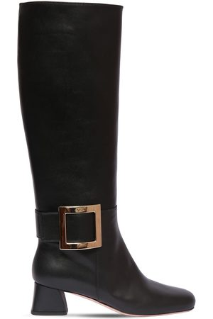Roger Vivier 45mm Trés Vivier Leather Tall Boots