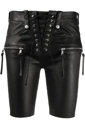 Unravel Project Lace-up front leather shorts