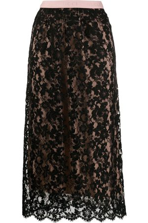 Gucci Floral lace midi skirt