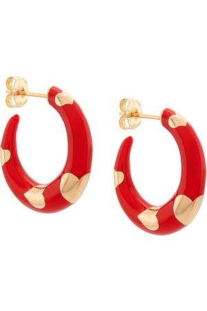 ALISON LOU 14kt yellow gold petite Armour heart hoops