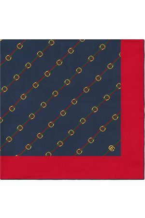 Gucci Scarf with Stirrups and Web print