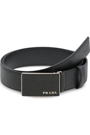 Prada Pebbled effect logo buckle belt