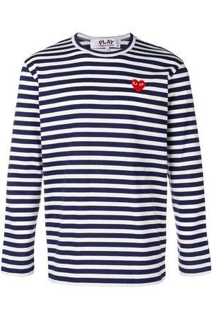 Comme des Garçons Striped heart logo T-shirt