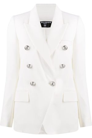 Balmain Women Blazers - Embossed buttons double-breasted blazer
