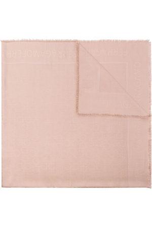 Salvatore Ferragamo Gancini silk and wool-blend scarf - Neutrals