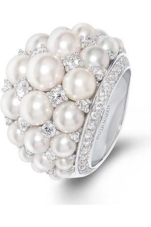 David Morris Gold and Diamond Pearl Rose Ring
