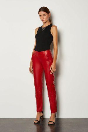 Karen Millen UK Women Trousers - Karen Millen Leather Button Detail Trouser