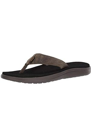 Teva Men's Voya Flip Leather Open Back Slippers, (Dark Olive Dol)