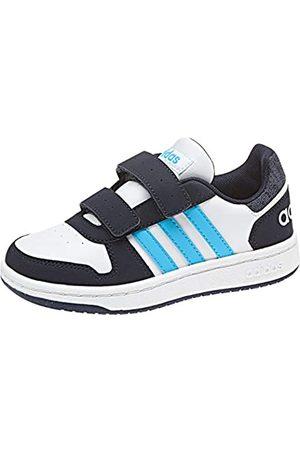 adidas Boys Shoes - Unisex Kids' Hoops 2.0 CMF Basketball Shoes, (Ftwwht/Brcyan/Legink Ftwwht/Brcyan/Legink)
