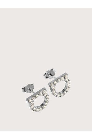 Salvatore Ferragamo Women Gancini crystal and pearl earrings