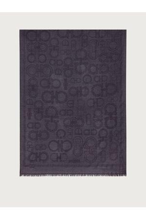 Salvatore Ferragamo Men Wool and silk scarf with Gancini Taormina Stone