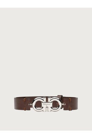Salvatore Ferragamo Men Leather bracelet with double sided Gancini Dark