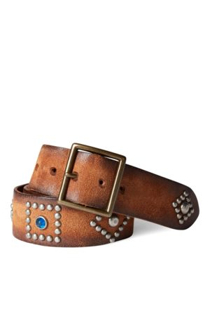 RRL Studded Roughout Leather Belt