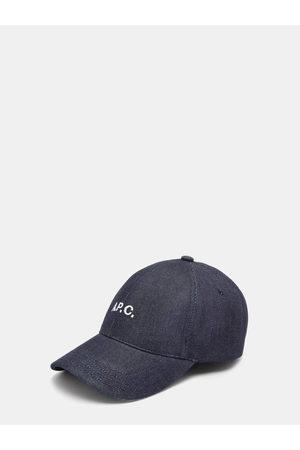 A.P.C. Men Hats - Charlie Logo-embroidered Denim Baseball Cap - Mens - Dark