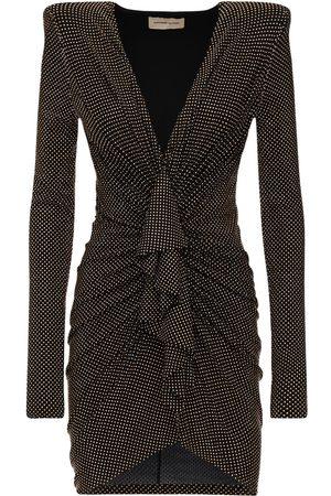 ALEXANDRE VAUTHIER Draped Micro Studded Jersey Mini Dress