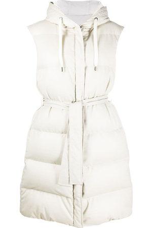 Brunello Cucinelli Women Body Warmers - Hooded puffer gilet - Neutrals