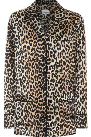 Ganni Women Pyjamas - Leopard-print stretch silk-satin pajama shirt