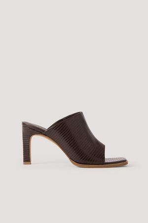 NA-KD Lizzard Squared Toe Mules - Brown
