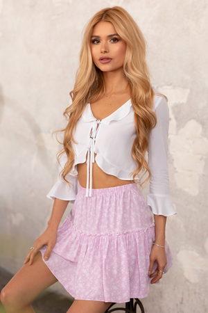 Pamela x NA-KD Reborn Frill Mini Skirt - Pink
