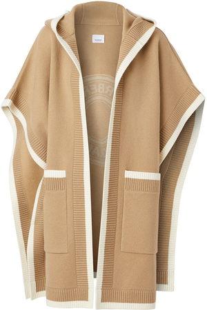 Burberry Ponchos & Capes - Logo jacquard-woven cape - Neutrals