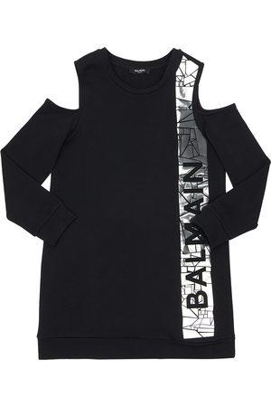 Balmain Logo Print Cotton Sweat Dress