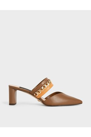 CHARLES & KEITH Leather Chain-Link Mules