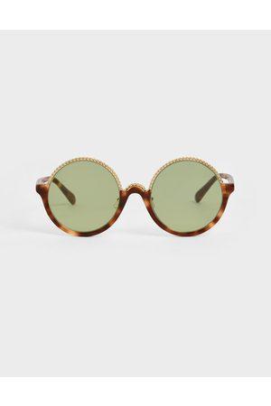 CHARLES & KEITH Tortoiseshell Half Frame Embellished Round Sunglasses