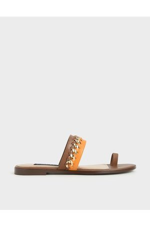 CHARLES & KEITH Leather Chain-Link Toe Loop Sandals