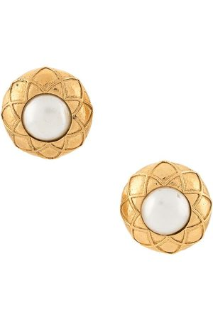 CHANEL Quilted faux pearl earrings