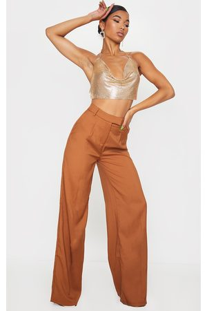 PRETTYLITTLETHING Taupe Woven Tailored Wide Leg Trousers
