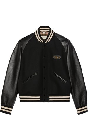 Gucci Men Leather Jackets - Felt and leather bomber jacket