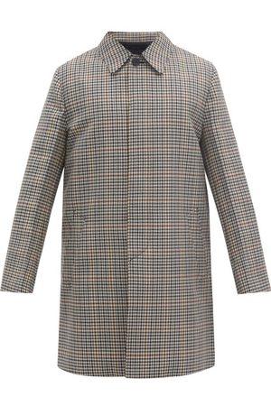 Prada Single-breasted Checked Wool-blend Coat - Mens - Multi