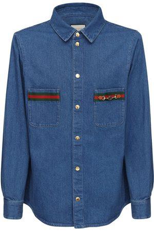Gucci Gg Patch & Web Cotton Denim Shirt