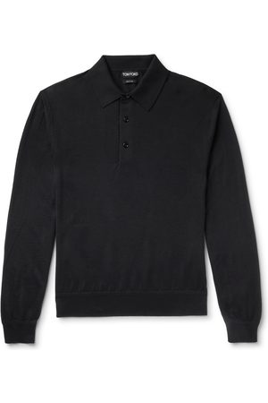 Tom Ford Men Polo Shirts - Cashmere and Silk-Blend Polo Shirt