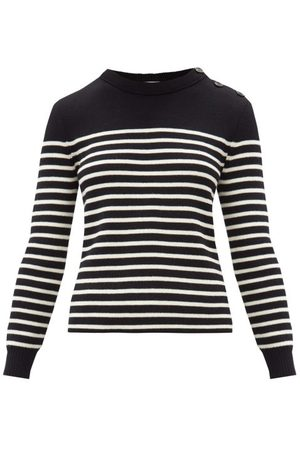 Saint Laurent Striped Cotton-blend Sweater - Womens