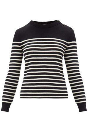 Saint Laurent Women Jumpers - Striped Cotton-blend Sweater - Womens