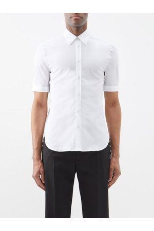 Alexander McQueen Short-sleeved Cotton-blend Poplin Shirt - Mens