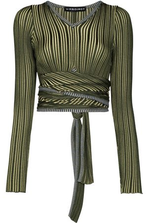 Y / PROJECT Cropped striped wrap top