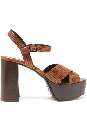 Prada Topstitched Leather Platform Sandals - Womens
