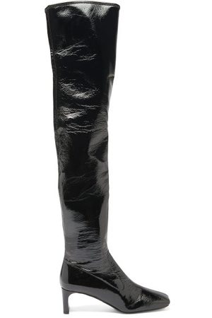 Prada Square-toe Patent-leather Over-the-knee Boots - Womens