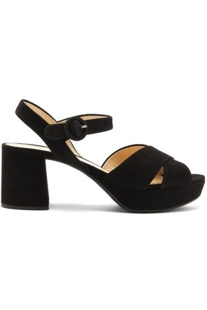 Prada Women Sandals - Crossover-strap Suede Platform Sandals - Womens