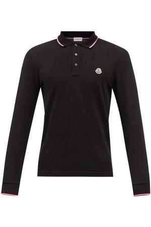 Moncler Logo Cotton-piqué Long-sleeved Polo Shirt - Mens