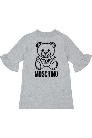 Moschino Flocked Toy Bear Cotton Sweat Dress