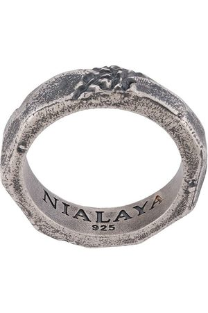 Nialaya Jewelry Men Rings - Engraved ridged ring